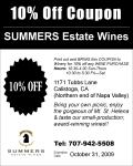 Summers Estate Wines Discount Coupon